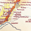 Map of burgundy region — 图库照片