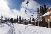 Suburb in snow — Stock Photo
