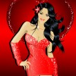 Royalty-Free Stock Vektorfiler: Sexy Woman In Red Dress
