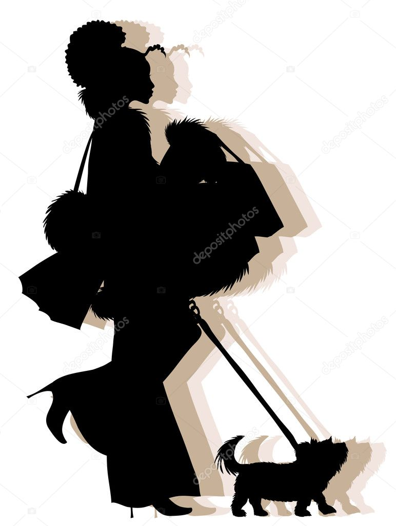 Vector silhouette of young african american shopping girl with her dog  — Stock Vector #2424303