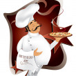 Royalty-Free Stock Vector Image: Chef with pizza