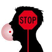 Men screaming,stop sign — Stock Vector