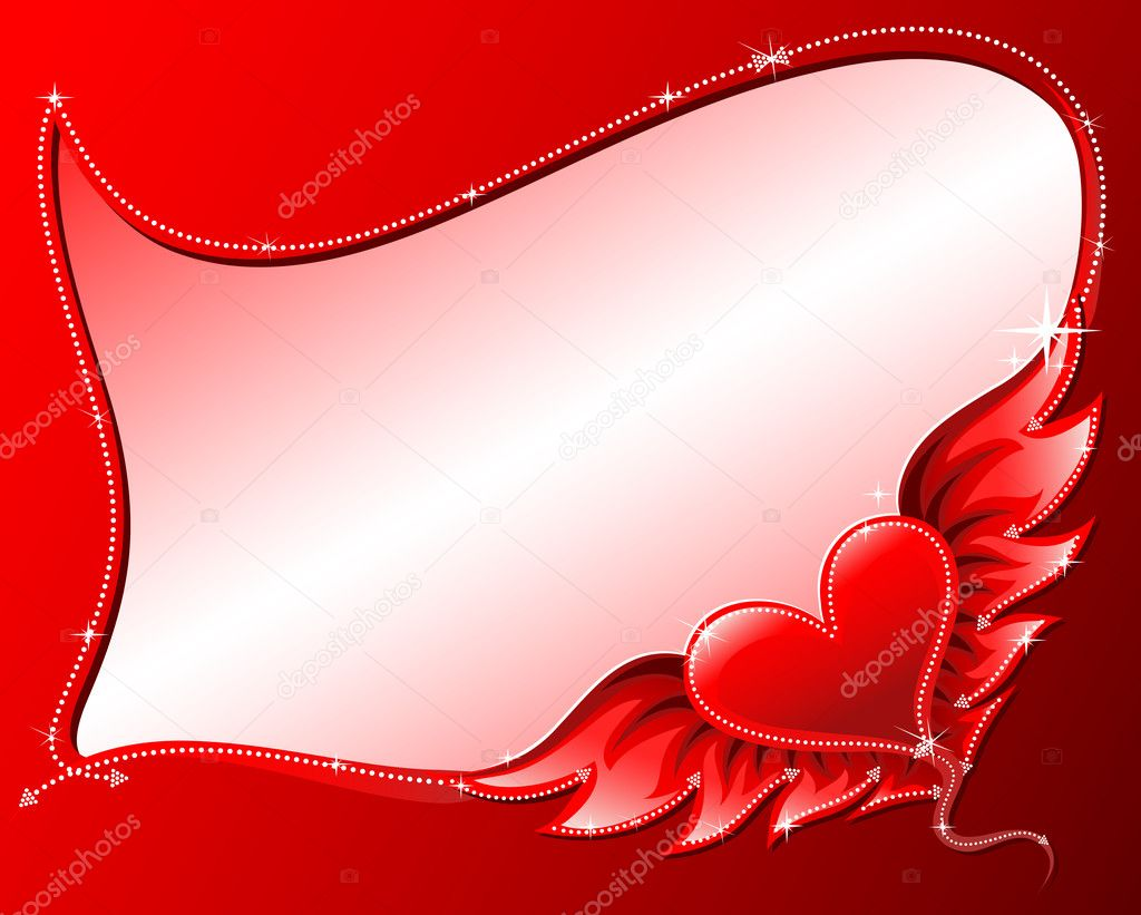 Red heart with wings frame,background  — Stock Vector #2467803