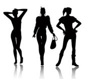 Fashion woman silhouette set — Vector de stock