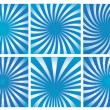 Blue sunburst background set — 图库矢量图片