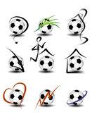 Soccer football icon set — Stock Vector