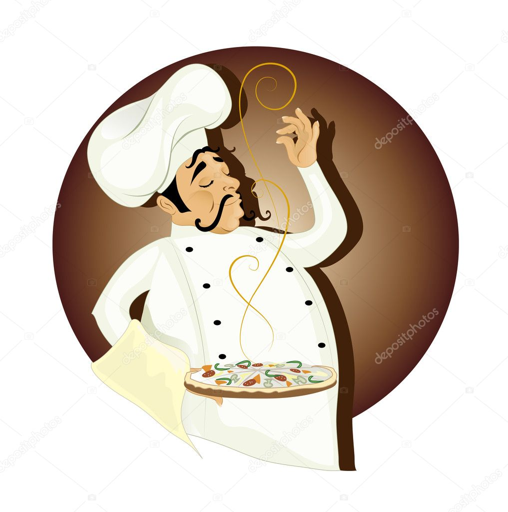 Vector illustration of chef with pizza — Stock Vector #2481213