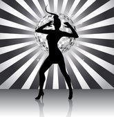 Disco queen silhouette — Stock Vector