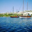 Yachts at coast of Aegean - Stock Photo