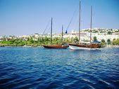 Yachts at coast of Aegean — Stock Photo