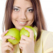 Girl with green apples — Stock Photo
