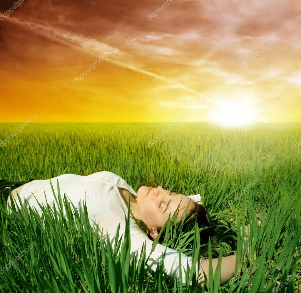 Girl sleep on a meadow — Stock Photo #2491767