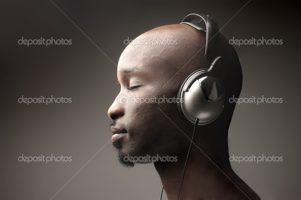 Black man listen music — Stock Photo #2492827
