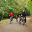 Happy family in bicycle — Foto Stock