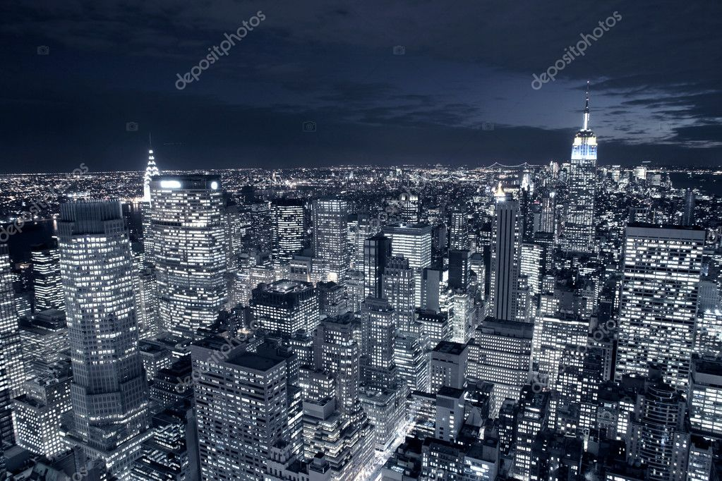 Night view of New York city  Foto de Stock   #2537817