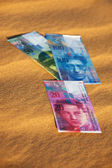 Swiss currency bank notes — Stock Photo