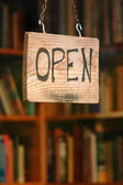 An open book shop sign — Stock Photo