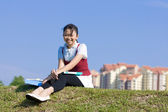Young girl take a rest after study — 图库照片