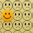Stock Photo: Yellow smiley against sad emoticon