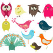 Vector de stock : Cute birds