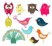 Pájaros lindos — Vector de stock