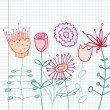 Vector de stock : Childlike floral drawing