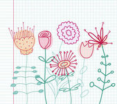 Childlike floral drawing — Vettoriale Stock