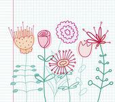 Dibujo floral infantil — Vector de stock