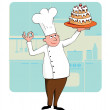 Stock Vector: Chef with a cake