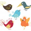 Stock Vector: Set of cute birds