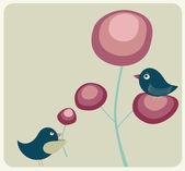 可爱的鸟类和鲜花 — 图库矢量图片