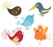 Set of cute birds — Vector de stock
