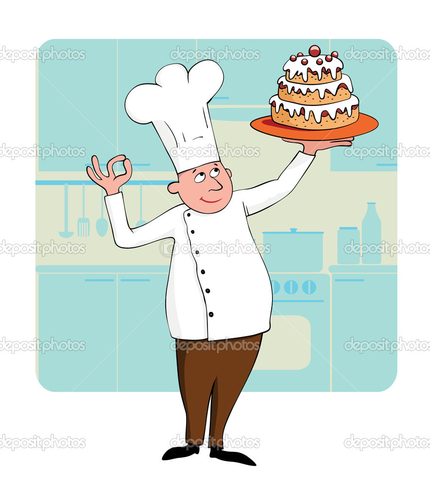 Young chef with a cake   Stock Vector #2648612