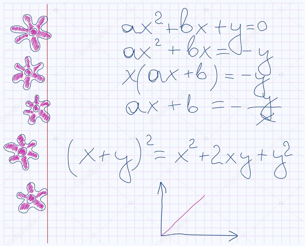 Maths notebook paper with drawn flowers  Vettoriali Stock  #2648683