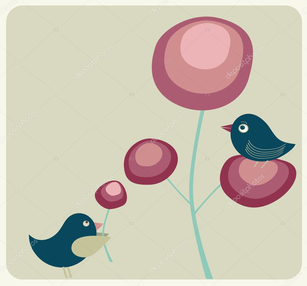 Cute birds and flowers in retro colors — Stock Vector #2648847
