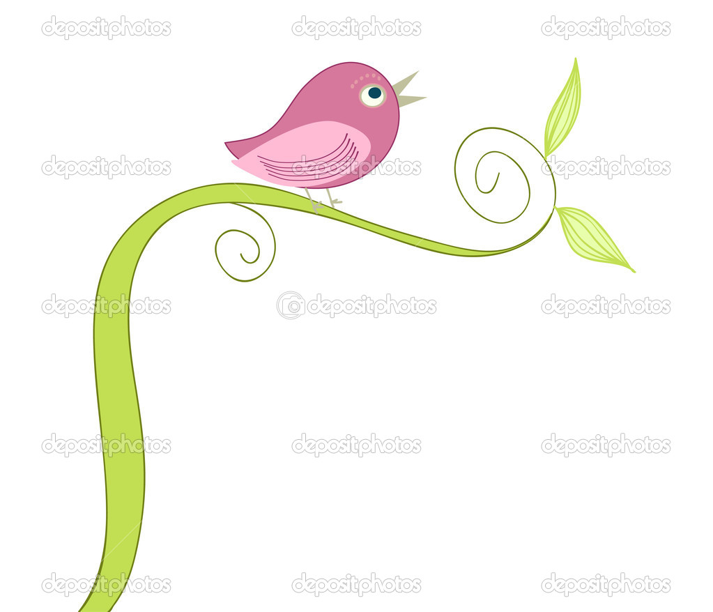Cute singing bird with space for text — Stock Vector #2648867