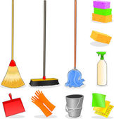 Tools for cleaning icons — Stock Vector