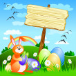 Stock Vector: Wooden sign with Easter rabbit