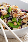 Wild rice with vegetables and prawns — Stock Photo