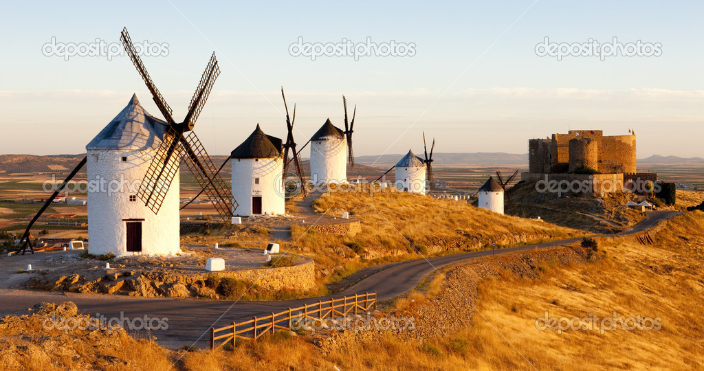 Windmills with castle, Consuegra, Castile-La Mancha, Spain  Stock Photo #2516338
