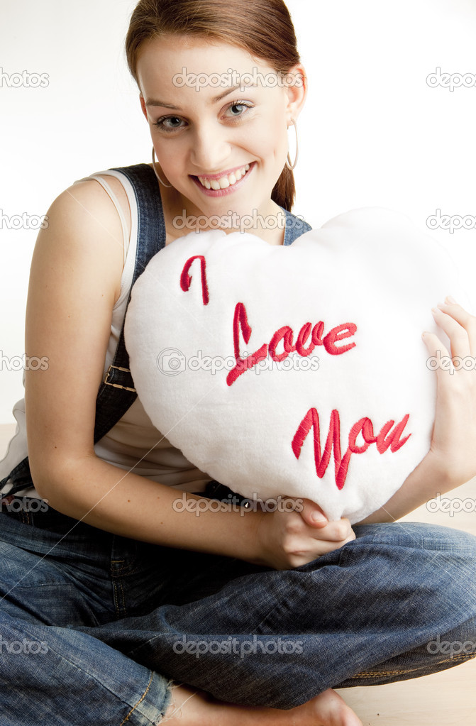 Portrait of woman holding a heart  Stock Photo #2516567