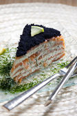 Smoked salmon cake — Stock Photo