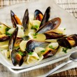 Mussels soup - Stock Photo