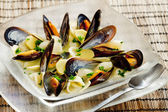 Mussels soup — Stock Photo