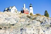 Faro pemaquid punto de luz, maine, estados unidos — Foto de Stock