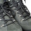 Lacing view on trekking boots — Stock Photo