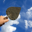 Trowel in man hand — Stock Photo