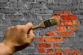 To paint brickwork — Stock Photo