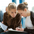 Two girls students — Stock Photo