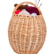 Basket with knitting — Stock Photo